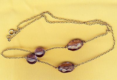 Rare Stunning Vintage Art Deco Amethyst Glass Bead Necklace