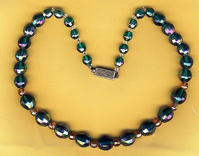 Beautiful Vintage Carnival Crystal Beads Necklace Sterling Silver Clasp