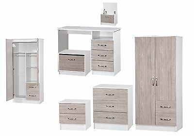 Marina Grey White High Gloss Bedroom Furniture - Sets Wardrobe Drawers Bedside