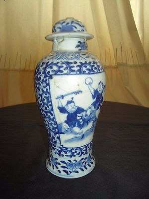 Antique Chinese Blue & White Pottery Baluster Jar & Lid w/ Fighting Scene