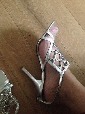faith shoes silver diamond Very Grey Wedding Jewelled Ladies heels size 5