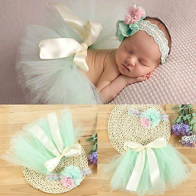 Cute Newborn Baby Girls Flower Headdress + Tutu Skirt Photo Prop Outfits Clothes