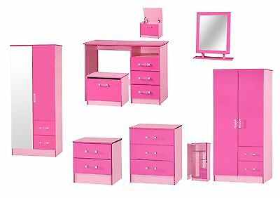 Marina Pink High Gloss Bedroom Furniture - Sets Wardrobe Drawers Bedside Desk