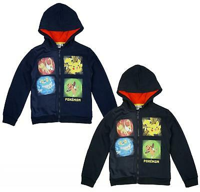 Boys Jacket Hoody Zip Pokemon Starter Pikachu Jumper Top Official 4 to 12 Years