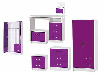 Marina Purple White High Gloss Bedroom Furniture- Sets Wardrobe Drawers Bedside