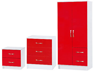 Marina Red & White High Gloss Bedroom Furniture - Set Wardrobe Drawers Bedside