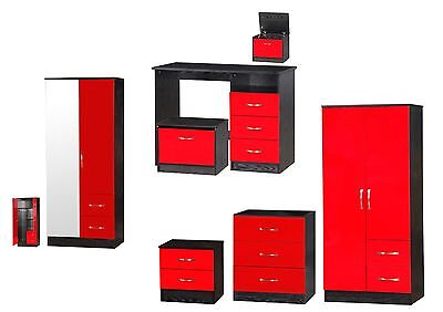 Marina Red & Black High Gloss Bedroom Furniture - Sets Wardrobe Drawers Bedside