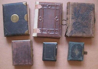 Job Lot of 6x Antique Victorian CDV/Cabinet Card Leather Photo Albums - Empty