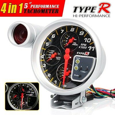 "5"" 4 in 1 Carbon Dial Tachometer Oil Temp Water & Oil Pressure Gauge"