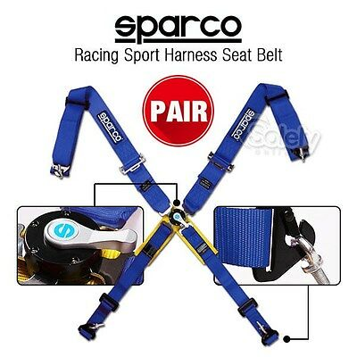 "2x Blue 3"" 4 Point Safety Harness Camlock System Car Seat Belt w/ Sparco Logo"