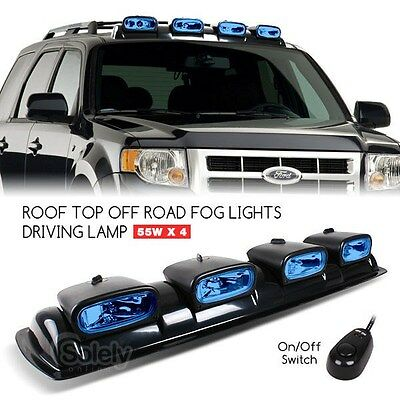 "4x 8"" Off Road 4x4 Driving Lamp Spot Light Bar Roof Mount Overhead Pod Blue 55W"