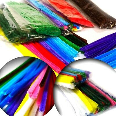 Chenille Stems 30cm x 6mm Pipe Cleaners - Choose Single Colour or Assorted Packs