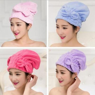 NEW Lovely Bowknot Solid Hair Turban Quickly Dry Hair Hat Towel Head Wrap Hat GT