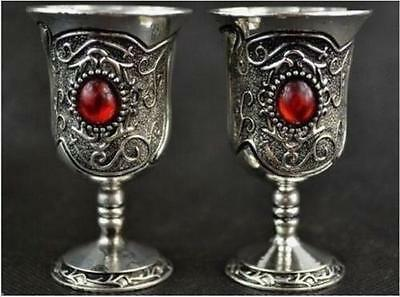 A Pair of Old Handwork Tibet Silver Flower Inlay red Bead Goblet Cups