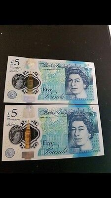 Bank Of England £5 Note New Polymer AA01 & AK47