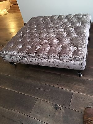 Extra Large Chesterfield Footstool/coffee Table In Silver Grey Crushed Velvet