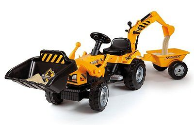 Smoby Tractor Builder Tricycle Pedal Ride-On Kids Child Outdoor Toy Digger New