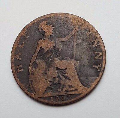 1903 - Copper - Half Penny - Great Britain - King Edward VII - English UK Coin