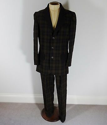 "Vintage 1940's Style 2 Piece Brown Check Suit - 42"" Chest / 34/36"" Waist / 31"" L"