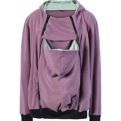 3 in 1 Maternity & Baby Carrier Kangaroo Jacket/Hoodie/Fleece Coat in Purple