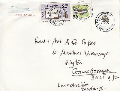 M 1145 Guyana 1986 airmail cover to UK;  75c rate; 3 stamps including overprint