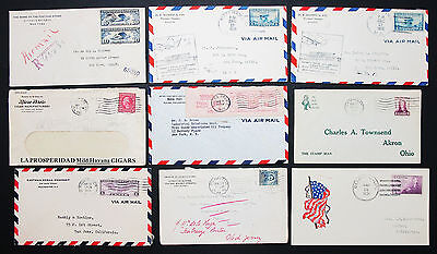 Postal History Set of 9 US Stamps Covers Letter Envelope Air Post Brief (L-2722