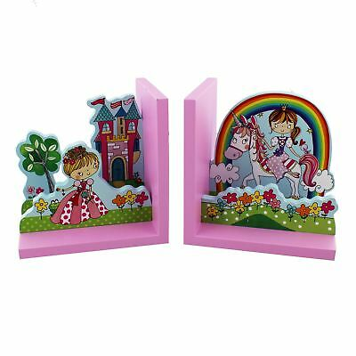 Colourful Child's Princess Theme Pair of Book Ends from Rachel Ellen Designs