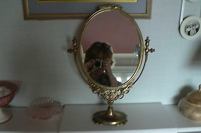 Vintage Solid Brass Dressing Table Swivel Mirror