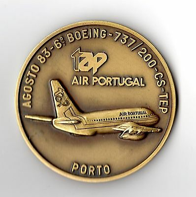 Medaille TAP Air Portugal Boeing 737 flugzeug Porto 1983 bronze