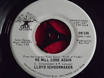 "Lloyd Schoonmaker~He Will Come Again [7""@45] ""Promo Copy"" (USA Issue)"