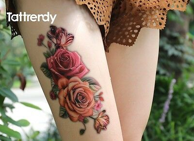 Pink Red Rose Flower Temporary Tattoos Stickers Body Art 3D Tatoo Waterproof Arm