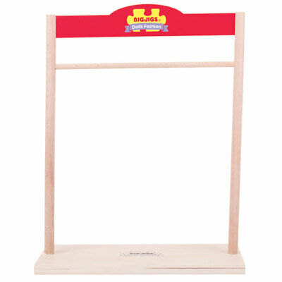 Bigjigs Toys Wooden Wardrobe / Fashion Stand for Rag Doll Clothes