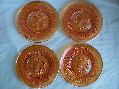 Vintage Estate Lot of 4 Marigold Carnival Glass Bread Plates Diamond Point 6.5""
