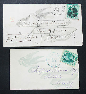 Postal History Two Lady Covers Carrier Stamp Fancy Cancel 2 x USA Brief (L-2729