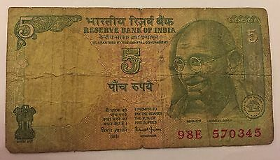 India Indian Rupee 5 rupees 1996 note coin collecting paper money numismatics