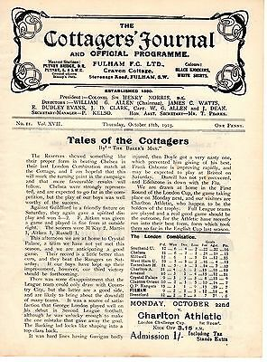 Fulham v Crystal Palace Reserves Football Programme 18.10.1923