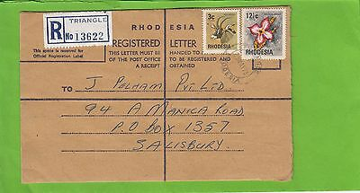 M 1009 Rhodesia  Triangle  May 1975  PO type registered internal cover ; 15 1/2c