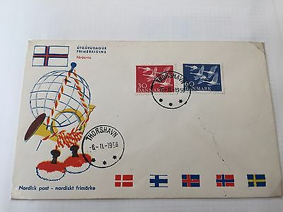 Faroe Islands FDC cover from period before they had their own stamps !!!!