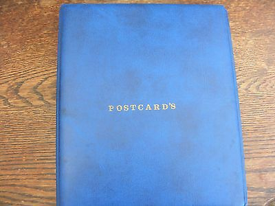 Blue Four Ring Postcard  Album With 20 Plastic 4 Section Pages