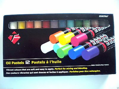 """Box Of 12 Assorted Colours """"keya"""" Oil Pastels"""