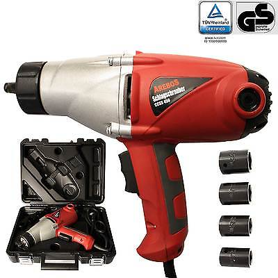 "Heavy Duty Electric Impact Wrench  1/2"" Drive and 4 Sockets 450NM TORQUE 1000W"