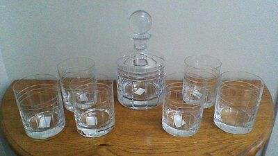 Reed & Barton Crystal Decanter and Glasses