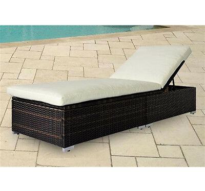 Rattan Sun Lounger Recliner Outdoor Bed Waterproof Removable Washable Cushion