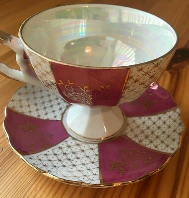 ● Beautiful Vintage RED/PINK/PURPLE Napcoware Coffee Cup & Saucer C-7120 STAMPED
