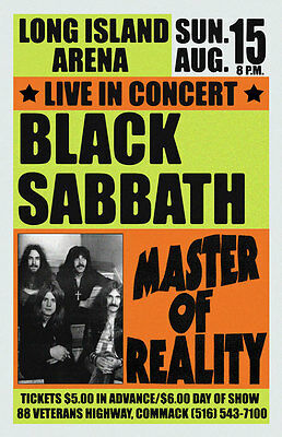 Black Sabbath Replica *commack 1971* Concert Poster