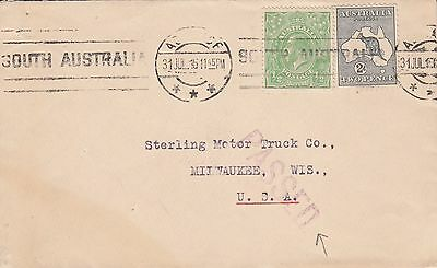 Q 2191 Adelaide 1916 cover to USA; 2d 1/2d rate 2d Kangaroo stamp on; 2nd weight