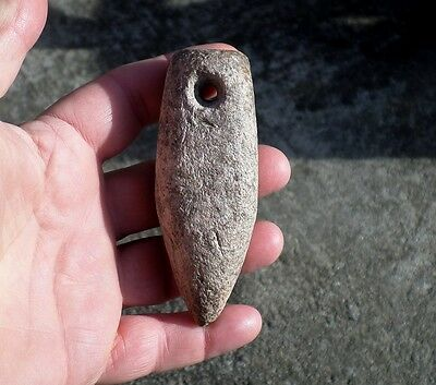 SP2 Native American Relic Indian Stone Artifact Pendant Large Drilled Plummet