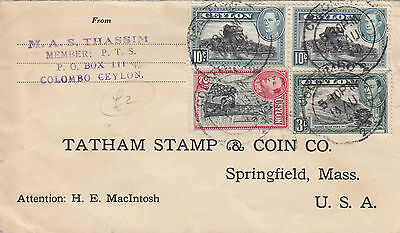M 1803 Ceylon 1940 cover to USA; 25c rate; 4 stamps