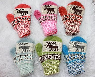 NEW Baby winter mittens homemade knitted 100% sheep wool craft warm 1T-2T DEER