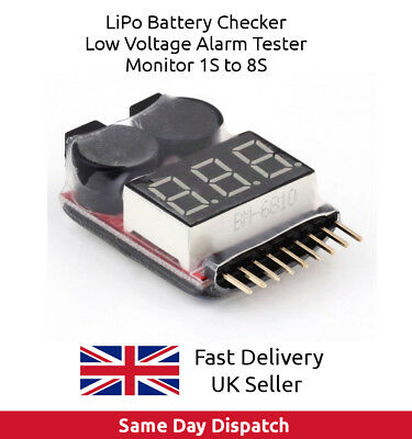 LiPo Battery Checker RC Airplane  Low Voltage Alarm Monitor Tester 1S-8S, UK